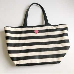 Betsey Johnson Striped Leather Large Tote Bag